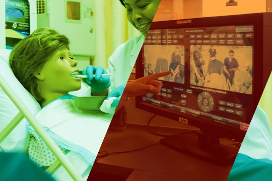 Graphic of nursing student interacting with simulation mannequin and instructor looking at video capture